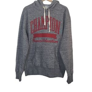 Champion Physical Education gray red hoodie sweats